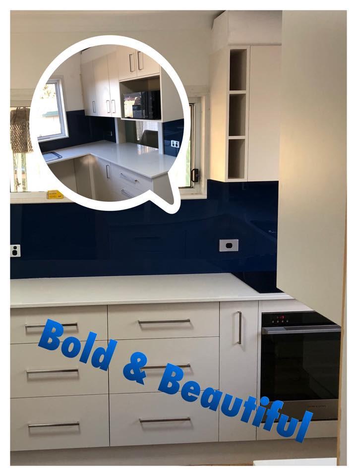 Lamiwood Kitchen with Blue Splash Backs
