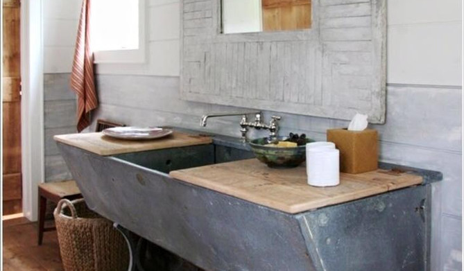 Cement Tubs with Recycled Timber Top