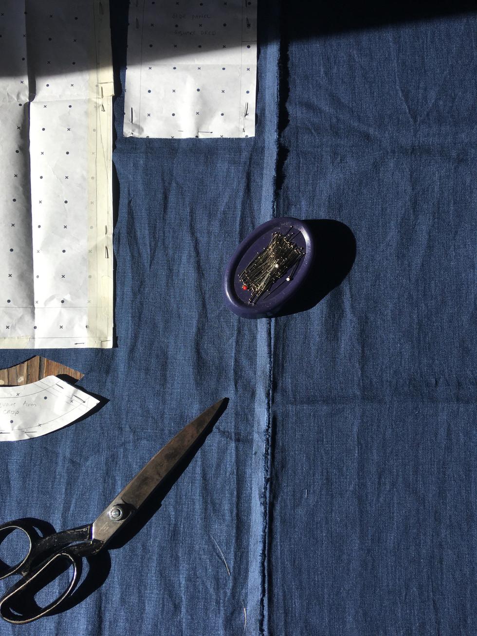 Indigo dyed linen Top