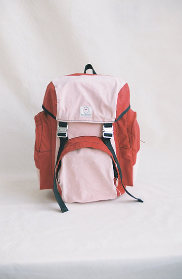 Pink and Red Rucksack Wax Cotton