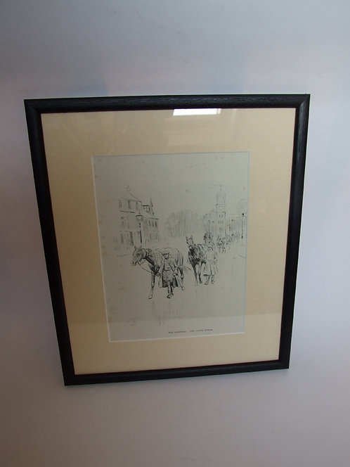 A Lionel Edwards  print of Newmarket Clock Tower
