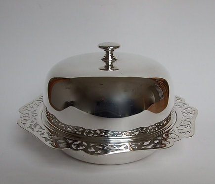 An attractive silver plated three part muffin dish