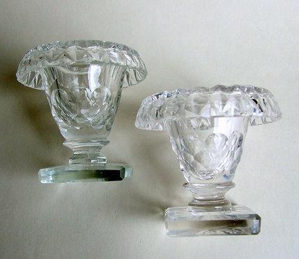 A pair of Victorian cut glass condiment bowls.
