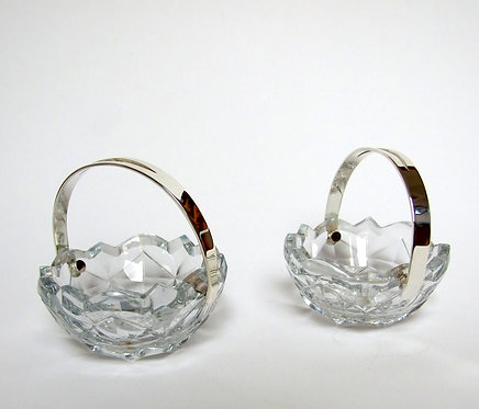 Rare pair of Georgian silver plated & glass dishes