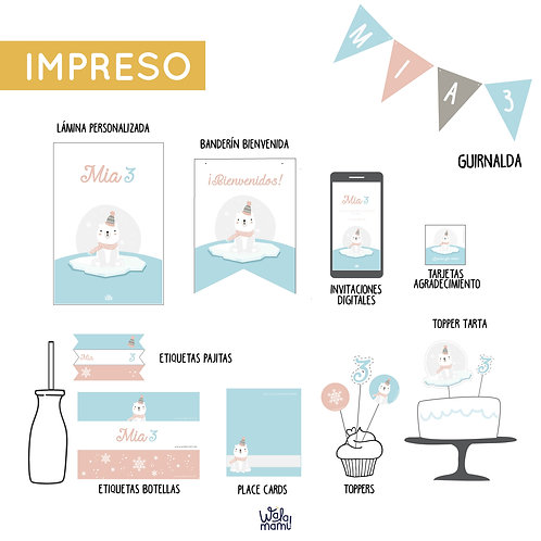 PARTY KIT IMPRESO - OSO POLAR