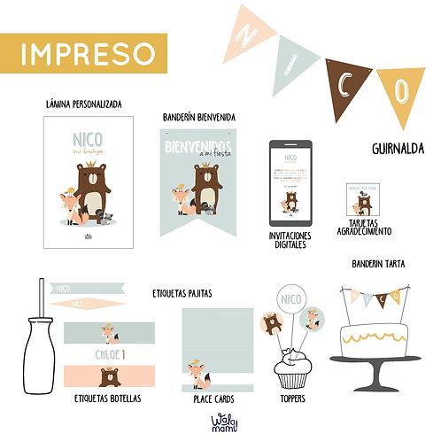 PARTY KIT IMPRESO - ANIMALES DEL BOSQUE