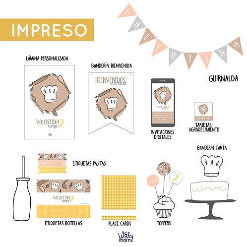 PARTY KIT IMPRESO - MINI CHEF