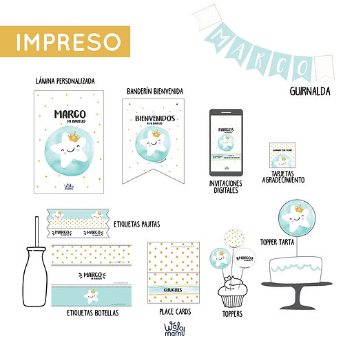 PARTY KIT IMPRESO - ESTRELLITA TURQUESA