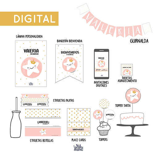 PARTY KIT DIGITAL - ESTRELLITA ROSA