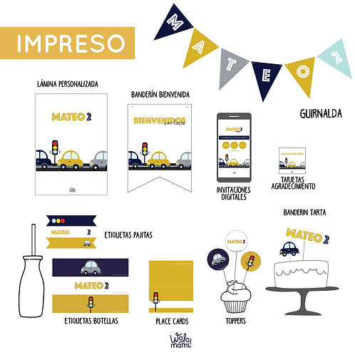 PARTY KIT IMPRESO - COCHES