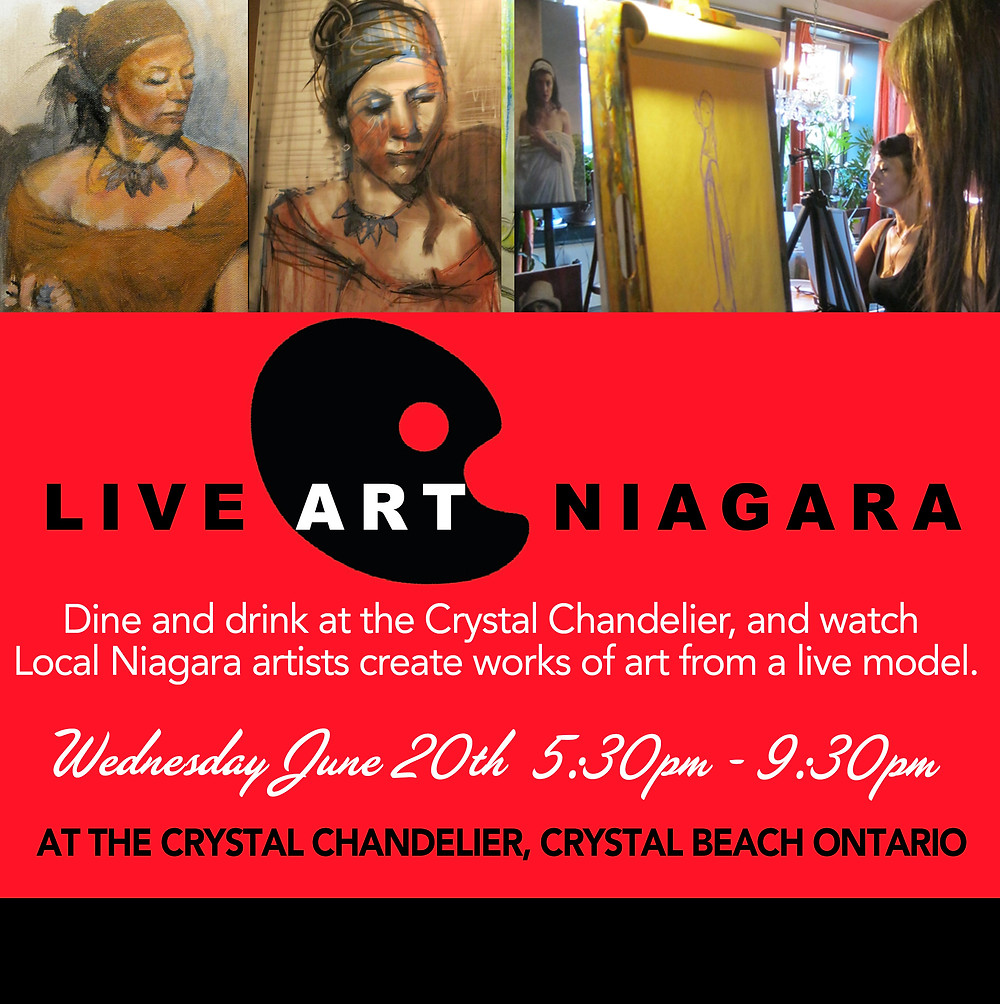 Watch local artists form the Niagara Region create works of art from a live model while you dine and drink at the Crystal Chandelier in Crystal Beach Ontario. All works created during the evening will be for sale.