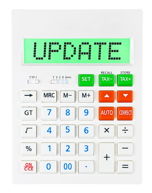 Calculator with UPDATE on display isolat