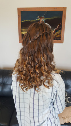 Waterfall braid deb ball hair style