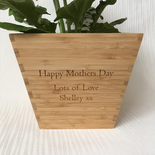 This Solid Bamboo Personalised Plant Pot Makes A Lovely Gift For Mum To Show How Much You Reciate Them