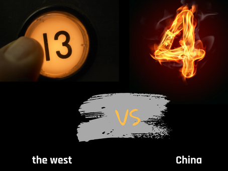 What does the number 13 in Western culture and the number 4 in Chinese culture have in common?