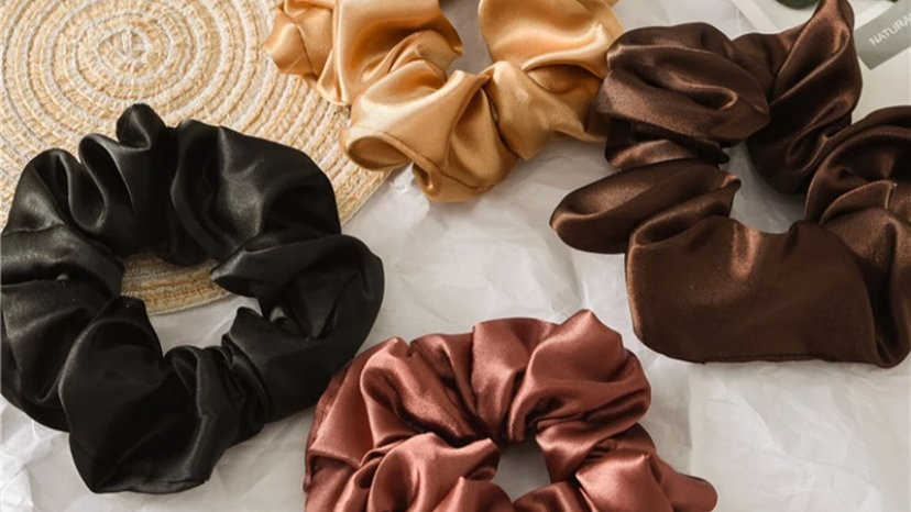 Satin Scrunchies. In 6 colours.