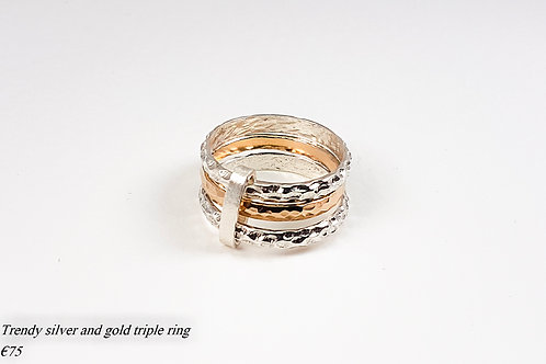 Silver and gold engraving triple ring