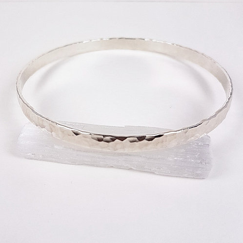 Solid hammered silver bracelet