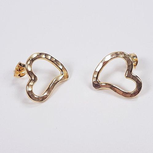 Gold stud earrings Open heart