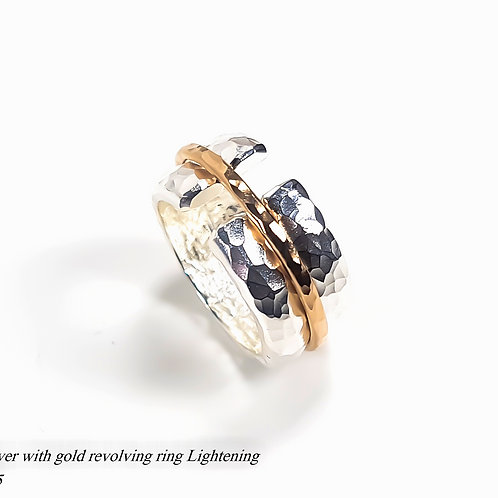 Silver with gold revolving ring Lightening