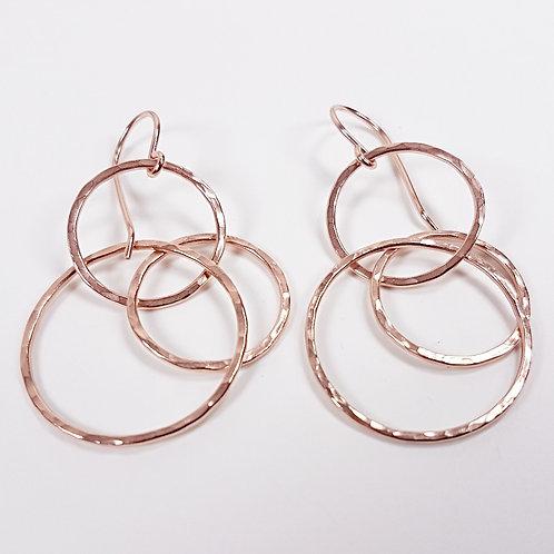 Rose gold Interlocking circles earrings