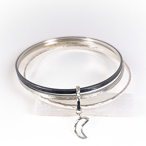 Silver with oxidized silver Triple bracelet the Magic moon