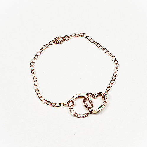 Rose gold Open Heart with Circle bracelet