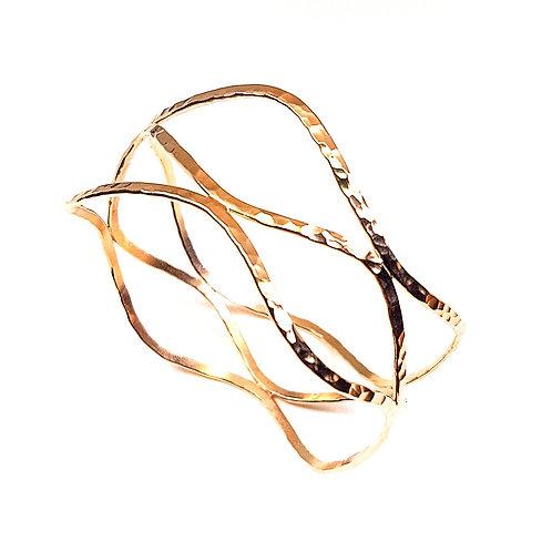 Large gold Wave triple bangle