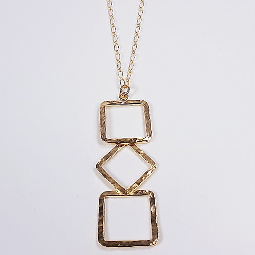 Large hammered gold pendant Geometric forms