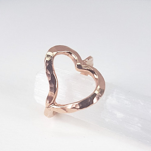Rose gold ring Open Heart