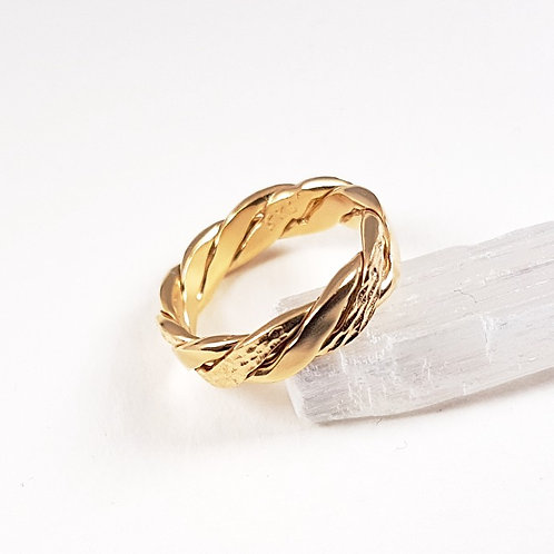 Large braided silver gold plated ring