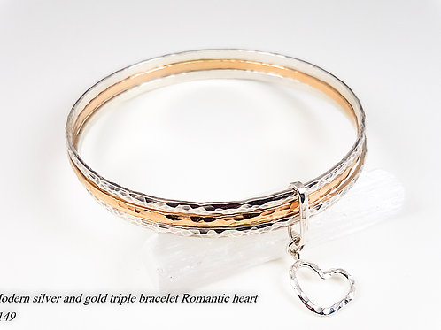 Hammered silver and gold triple bracelet Romantic heart