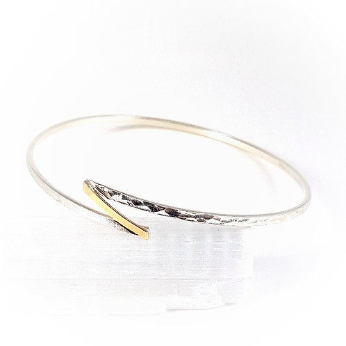 Delicate Engraving Bracelet in Silver and 9k Gold