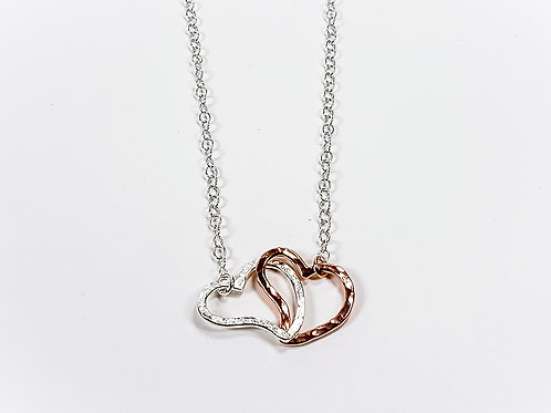 Rose gold with silver pendant An Pair of unit heart
