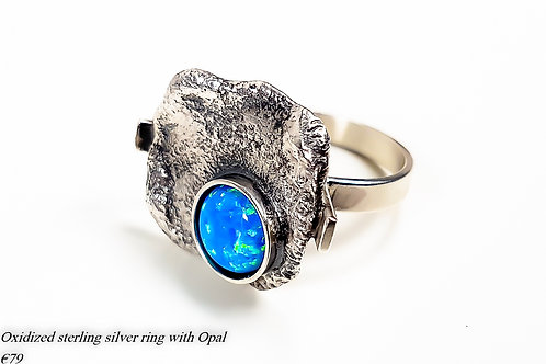 Oxidized sterling silver ring with Opal
