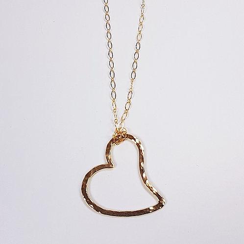 Large gold pendant Open Heart