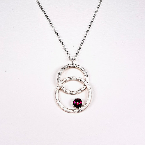 Sterling silver pendant Two circles with Red Corundum stone