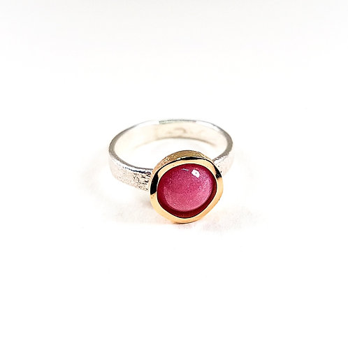 Delicate gold and silver ring with Rhodochrosite stone