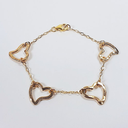 Gold bracelet Open heart in chain