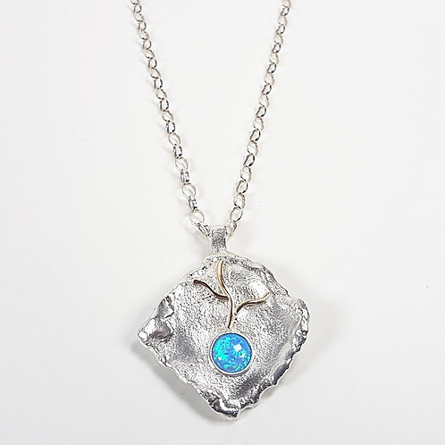 Silver with 9k gold large pendant with Opal