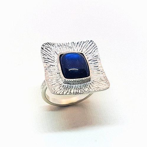 Engraving silver ring with Blue Labradorite stone
