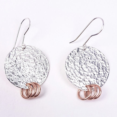 Fancy silver with rose gold earrings