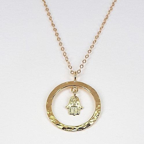 Gold pendant Circle with filigree hand of Fatima symbol