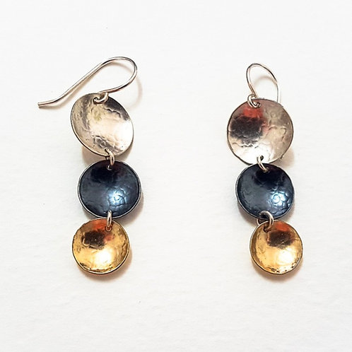 Multicolor silver, oxidized silver and gold earrings