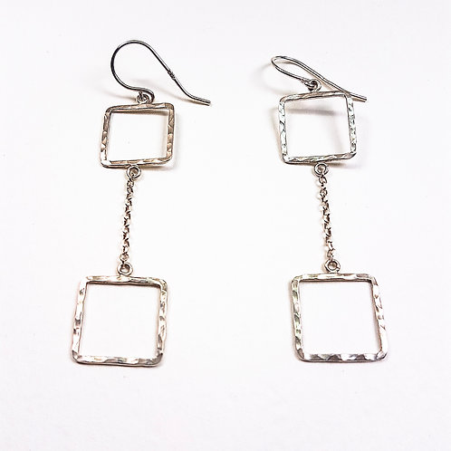 Silver Small Square chain earrings