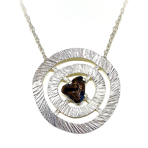 Large silver necklace with Pietersite stone