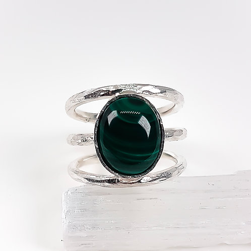 Large silver ring with Green Agate stone