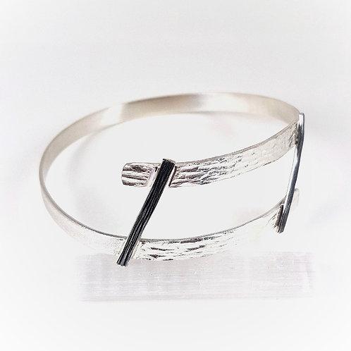 Amazing silver and oxidized silver bracelet