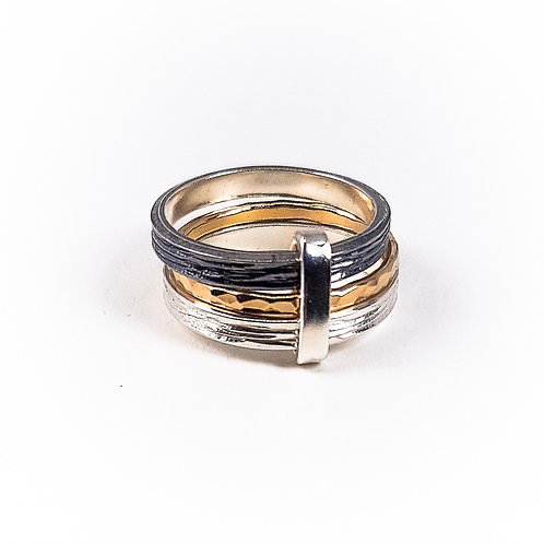 Multicolor silver and gold triple ring