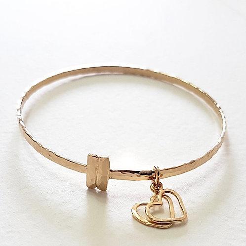 Gold bracelet An Lovely pair of unit hearts